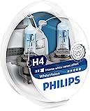 Philips 12342WHVSM White Vision Xenon Effect H4 Headlight Lamp, 3700K, Twin Pack