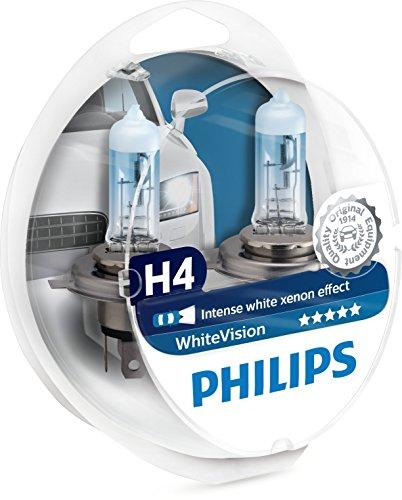 Philips 12342WHVSM White Vision Lampada Alogena H4, 60% di Luce in Più sulla Strada, 4300K