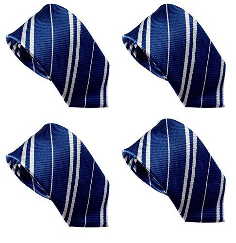 LilMents 4 Pack Pinstriped Formal Necktie Tie Set (Blue)