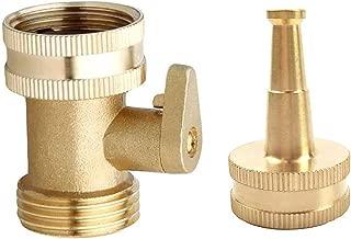 Hanobo 2 Pack Brass Shut Off Garden Hose Connectors with High Pressure Jet Sweeper Sprayer Nozzle
