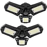 2-Pack LED Garage Light 60W Garage Lighting - 6000LM 6500K LED Deformable Garage Ceiling Lights, LED Shop Light with Adjustable Multi-Position Panels, LED Glow Light for Garage, Workshop