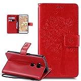 Kompatibel mit Huawei Honor 5X Hülle,Huawei Honor 5X Schutzhülle,Prägung Katze Schmetterlings Blumen PU Lederhülle Flip Hülle Handyhülle Ständer Tasche Wallet Hülle Schutzhülle für Huawei Honor 5X,Rot