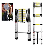 5M Aluminium Telescopic Extension Ladder Foldable Portable Ladders Attic Telescoping Folding 16.4ft Capacity 150kg/330lb EN 131 Certificate Out for Door Indoor Home Office Use