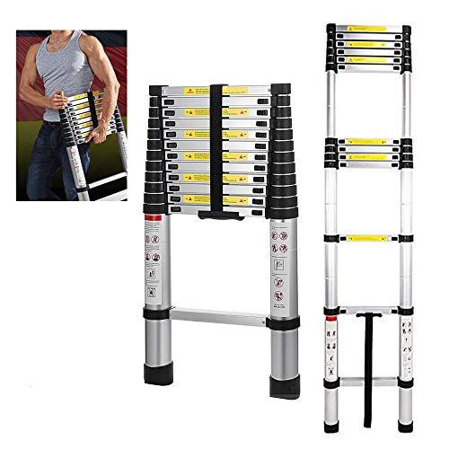5M Aluminium Telescopic Extension Ladder Foldable Portable Ladders Attic...