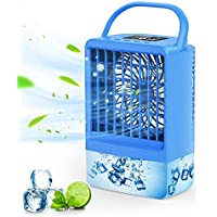 Enjsd Rechargeable Portable Air Conditioner Fan w/3 Speed Light & Timer