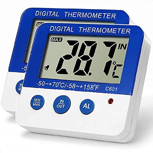 Digital Gefrierschrank NIAGUOJI Kühlschrank Thermometer mit Magnet und Stander LED Alarm Indikator Max/Min Speicher Gefrierschrank Thermometer für Haus Küche Restaurants Bars Cafes
