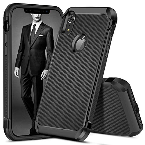 DUEDUE iPhone XR Cases, Dual Layer Carbon Fiber Slim Hybrid Shock Absorbing Cover Hard PC Bumper Rug - http://coolthings.us