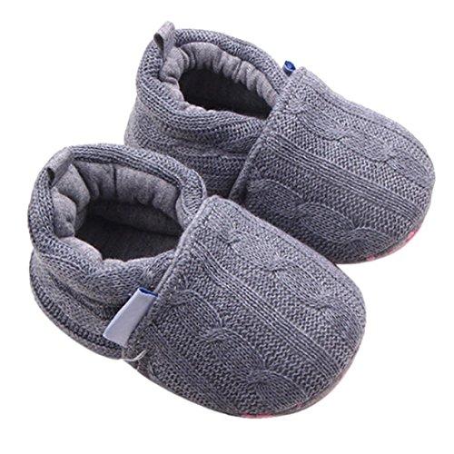 LuckyGirls Baby Schuhe Unisex Baby Weiche Warme Sohle Baumwolle Stoff Schuhe Infant Jungen MäDchen 0-6 Monate 6-12 Monate 12-18 Monate SchnüRschuhe Sneaker 12(6~12 Monate), Grau