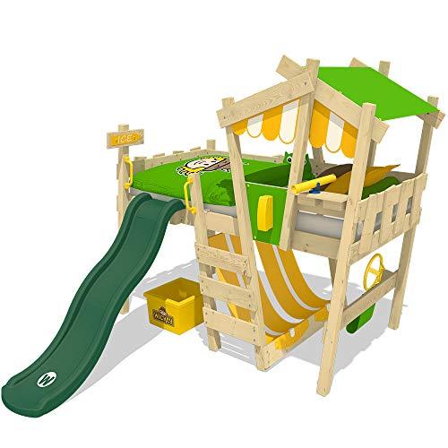 WICKEY Letto per bambini con scivolo CrAzY Hutty Letto a soppalco con tetto Letto Avventura con rete a doghe, verde mela-giallo + scivolo verde