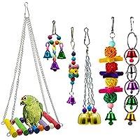 Amasawa 6 Piezas Unidades Juguetes para Pájaros Colorful Columpio para Loros Accesorios Jaula Pajaros Bite Toy con Campanas para Periquitos,Columpio y Campana,Juguetes para Masticar para Loros
