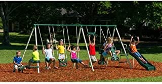 Deluxe Trapeze Swing Big Adventure Metal Swing Set, Steel Frame with HDPE Plastics