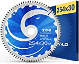 FALKENWALD - Hoja de Sierra Circular 254 x 30 mm - Ideal para Madera - Metal y Aluminio - Disco de Corte compatible con Sierra Tronzadora y Sierra Circular de Bosch & Metabo