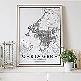 Aishangjia Cartagena Colombia Mapa de la Ciudad nórdica Decor para la Sala de Estar Póster en Lienzo Sala de Estar Dormitorio Decor para el hogar Impresión de Arte Pintura 50x70 cm k-1868
