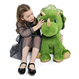 Muiteiur Sitting Triceratops Plush Toy Dinosaur Stuffed Animal with Golden Horn Great Gift for Kids Green, 24.4inch