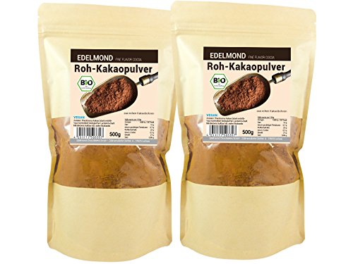 Bio Kakaopulver natürlich und roh von Edelmond. 100% pur + entölt als Rohkost oder Smoothie cacao. AAA Chocolatiers Qualität (1000GR)
