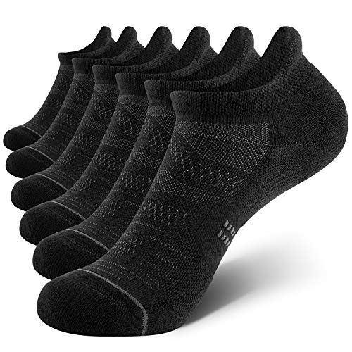 CelerSport 6 Pack Women's Ankle Running Socks Cushioned Low Cut Tab Athletic Socks, Black, Medium