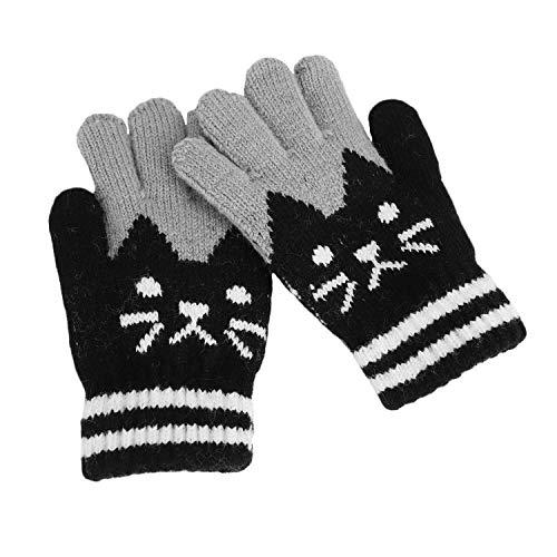 Warm Kinder Handschuhe Kätzchen Druck Herbst Winter Strickhandschuhe Outdoor Winterhandschuhe für 4-8 Jahre Alter Mädchen Jungen