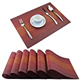 BeChen Plastic Placemats,Non Slip Washable Placemats for Dining Table Wipe Clean Table Mats Set of 6(Red)