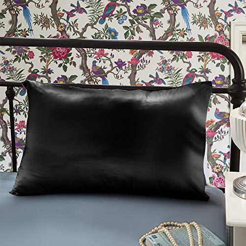OLESILK Fundas de almohada de seda de morera 100% natural para cabello y piel, 22 momme, con cremallera oculta en caja de regalo, 1 unidad, color negro - 65 x 65