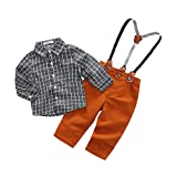 Baby Boy Casual Suit 2pcs Cotton Long Sleeve Plaid Button-Down Shirt Pant with Suspenders Outfits Clothes Set (6/12M) Gray