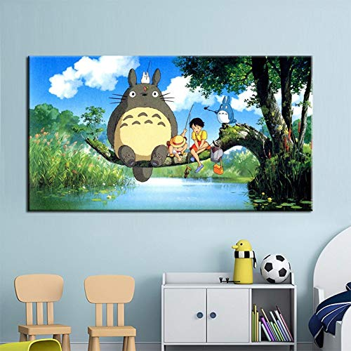 N / A Moderne Cartoon Kunst Malerei Miyazaki Hayao Totoro Poster Wandmalerei für Kinder Schlafzimmer Wandbild Home Decor Geschenk No Frame 30x60CM