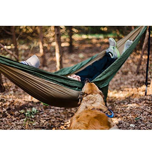 NatureFun Ultraleichte Camping Hängematte / 300kg Tragfähigkeit, Atmungsaktiv, schnell trocknende Fallschirm Nylon / Enthalten 2 x Premium Karabinerhaken 2x Nylonschlingen / Fürs Freie oder einen Innengarten - 6