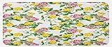 HARXISE Küchenfußmatten Küche Bodenmatte Komfort,Gelbe Blume, blühende Bindekraut und rosa Rosen hinterlässt botanische Natur, jadegrünes Babyrosa,rutschfeste Küche Teppiche Indoor Outdoor