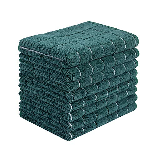 Microfiber Dish Towels - Soft, Super Absorbent and Lint Free Kitchen Towels - 8 Pack (Lattice Designed Green Colors) - 26 x 18 Inch (Dark Green)