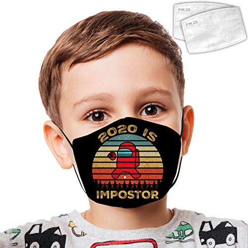 VIPODER Among Us Kid Dust Face Cover Adjustable Mouth Mask Balaclava Bandanas Washable Reusable with 2 Filter Paper for Teens Boy Girl