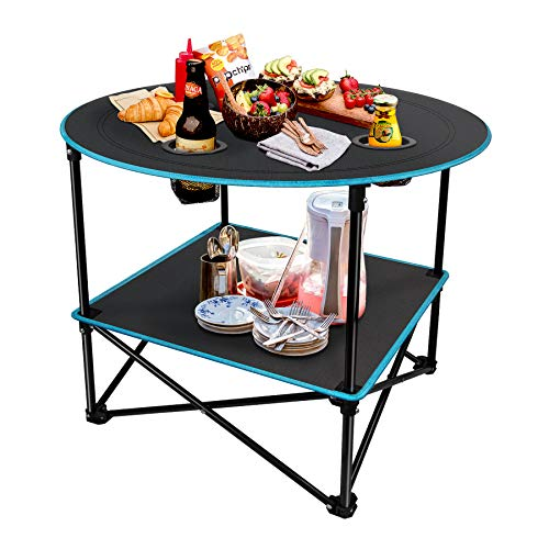LESES Mesa de picnic plegable portátil para acampar al aire libre con bolsa de almacenamiento