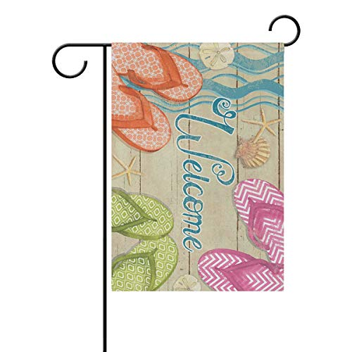 REFFW Lake for Outdoor Lawn Decor Double Sided Home Banner Gardening Garden Flag Colorful Flip Flops Welcome Summer