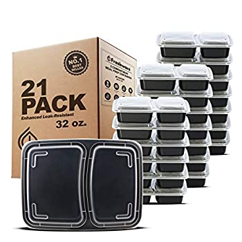 Freshware Meal Prep Containers [21 Pack] 2 Compartment with Lids Food Storage Containers Bento Box BPA Free Stackable Microwave/Dishwasher/Freezer Safe  32 oz
