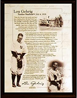 Steiner Sports MLB New York Yankees Lou Gehrig Speech 8 x 10-inch Plaque