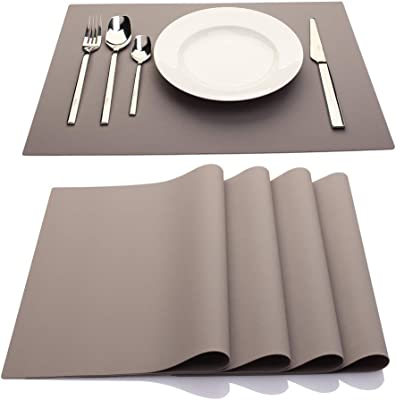 Stain Resistant Jovono Faux Leather Placemats PU Table Mats Non-Slip Easy to Clean for Kitchen Dining Table,Conference Table Waterproof Heat Resistant