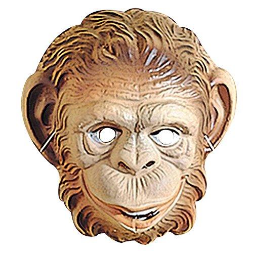 PARTY DISCOUNT Maske AFFE aus Plastik, braun