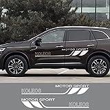 2PCSオートチューニングドアサイドスカートストライプステッカー車体装飾ビニールラップレーシングアクセサリー、ルノーコレオスグラフィック光沢ブラック用