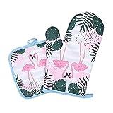 rtgfb Calor Barbacoa Guantes 2 Piezas 1 Par De Algodón Flamingo Pad Cocinar Microondas para Hornear Barnices De Horno De Horno Guantes De Cocina Guantes 30, D