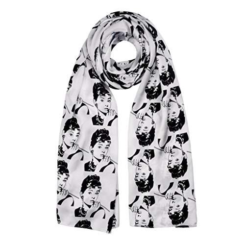 Women Scarf Lingso Wrap for Men Girl Boy Gift Fashion Audrey Hepburn White Black shawl