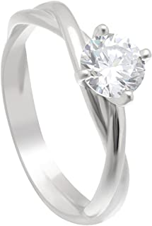 Ginger Lyne Collection Aurora Infinity Sterling Silver Hearts and Arrows Engagement Bridal Wedding Ring