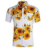 TLLW Camisas de manga corta para hombre, camisetas de hombre, casual, con estampado de girasol, tamaño grande, solapa de manga corta, con botones, amplia suelta Blanco blanco XXL