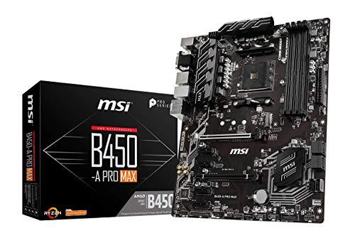 MSI B450-A PRO MAX Motherboard ATX, AM4, DDR4, LAN, USB 3.2 Gen2, M.2, VGA, DVI-D, HDMI, AMD RYZEN 1st, 2nd and 3rd Gen Ready
