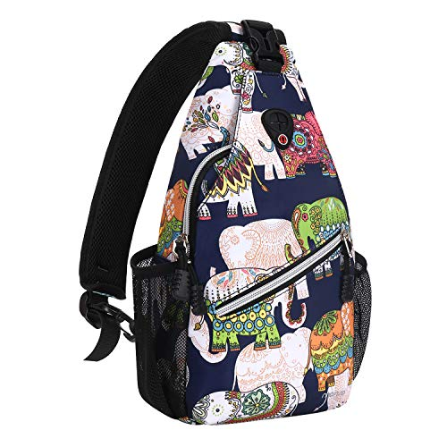MOSISO Mini Sling Backpack,Small Hiking Daypack Pattern Travel Outdoor Sports Bag, Elephant