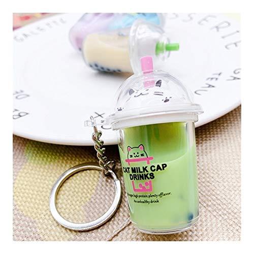 Llavero creativo Bolsa llavero de dibujos animados del gato llavero llavero del coche Mini leche taza de té de cristal líquido de la arena movediza de lentejuelas colgante for las mujeres Llavero segu