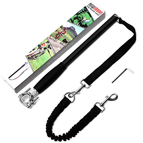 NEWURBAN Dog Bike Leash, Easy Installation Removal Hand Free Dog Bicycle Exerciser Leash for Exercising Training Jogging Cycling and Outdoor Safe with Pets - Black