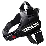 Wishnice Service Dog Vest Harness with Comfortable Padded Handle and Highly Reflective Threads for Service Dogs, Adjustable Oxford Soft Padded Breathable Vest for Small Medium Large Dogs