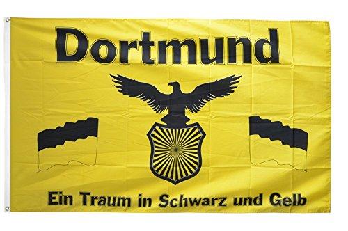 Flaggenfritze® Fanflagge Dortmund - Traum in Schwarz und Gelb - 90 x 150 cm