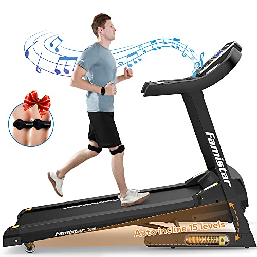 Famistar 3.5HP Folding Treadmill, 15% Auto Incline 300LBS+ Capacity Running Machine with LCD Display...