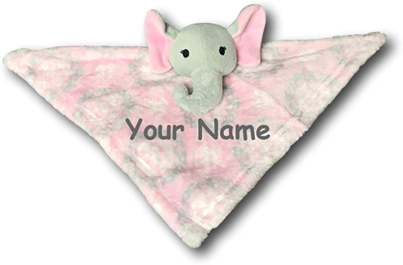 Personalized Pink Elephant Baby Plush Blanket And Security Blanket