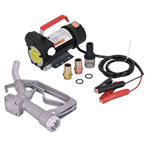 COSTWAY Dieselpumpe-Set mit Schlauch Dieselpumpe + Zapfpistole/Heizölpumpe Kraftstoffpumpe Ölpumpe Fasspumpe(12V 40L/min) mit Zapfpistole und Zubehör