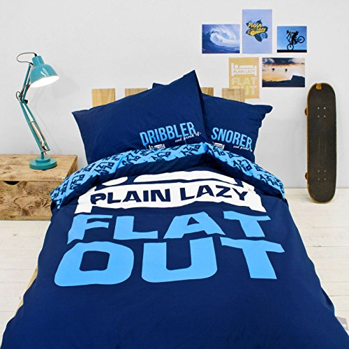 Plain Lazy Boys Girls Childrens Teens Kids Blue Black Grey Pink 100% Cotton Single Duvet Cover Bedding Set